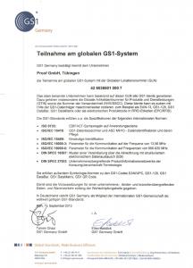 GS1 Zertifikat der Proof GmbH