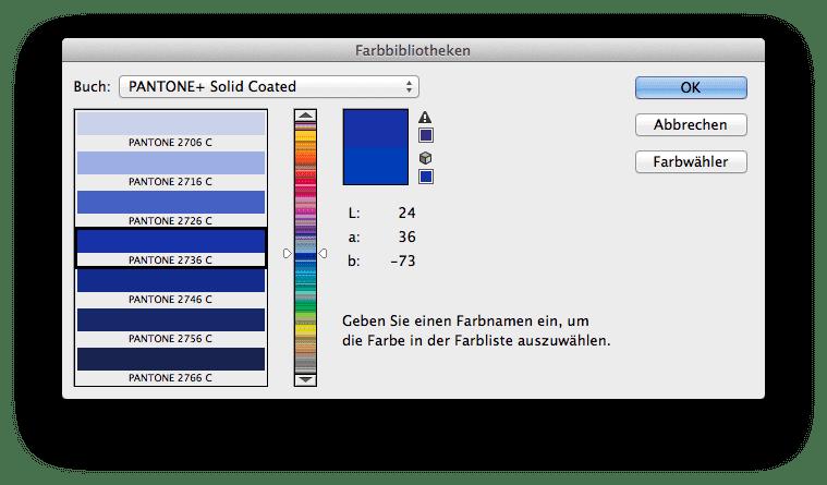 Auswahl des Farbbuches Pantone+ Solid Coated in Adobe Photoshop. Die entsprechende Pantone Farbe für HKS 43 K bleibt unverändert.
