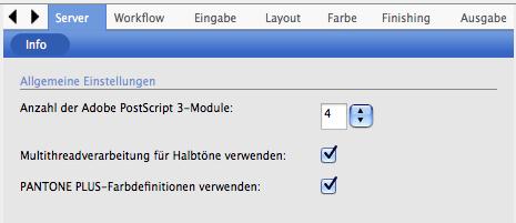 EFI Colorproof XF 4.5.8: Pantone Plus Farbverwaltung ist ausgewählt