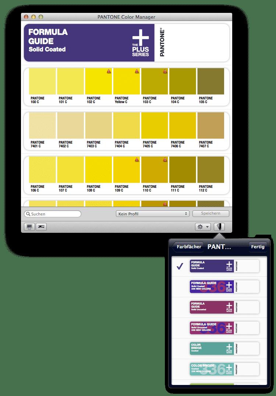 Screenshot Pantone Color Manager 13.03.2014. Weder die Pantone letzten Pantone 50th Anniversary Fächer noch die aktuellen Pantone Plus Fächer aus 2014 sind in der aktuellen Pantone Color Manager Software nicht enthalten.