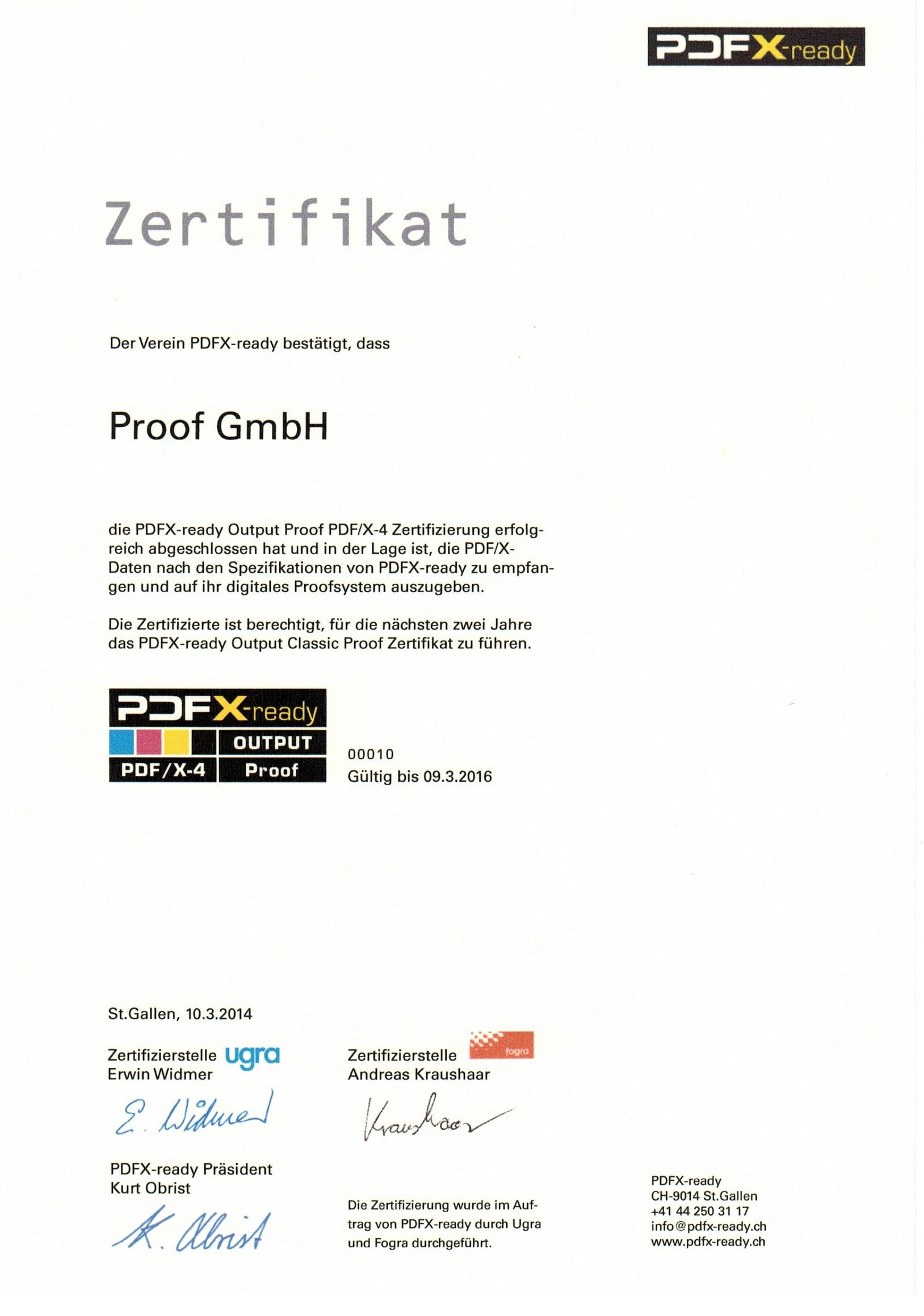 PDFX-ready Output Proof Zertifikat der Proof GmbH für PDF/X-4