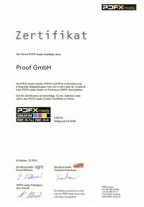 Proof GmbH PDFX-ready Creator Zertifizierung für PDF/X-4 und PDF/X-1a Datenerstellung