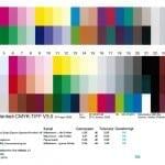 Japan Color 2011 Coated Proof Medienkeil (oben) und Prüfprotokoll (unten).