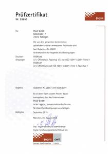 Fogra Zertifikat 2014 der Proof GmbH Tübingen