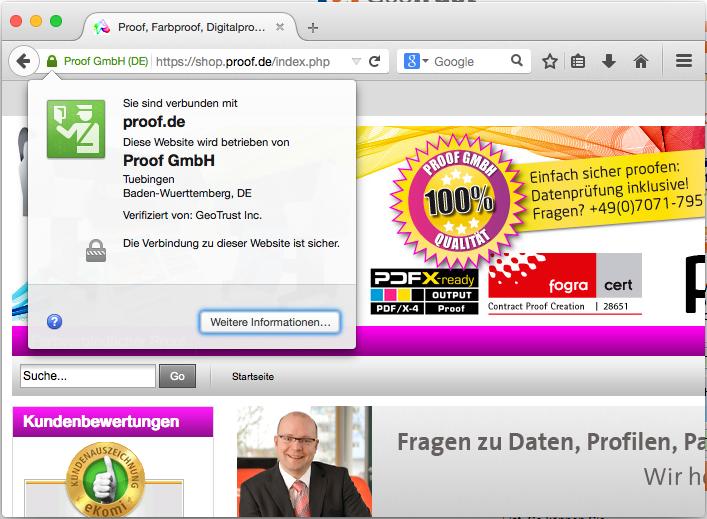 shop.proof.de: SSL Verschlüsselung ist sofort sichtbar