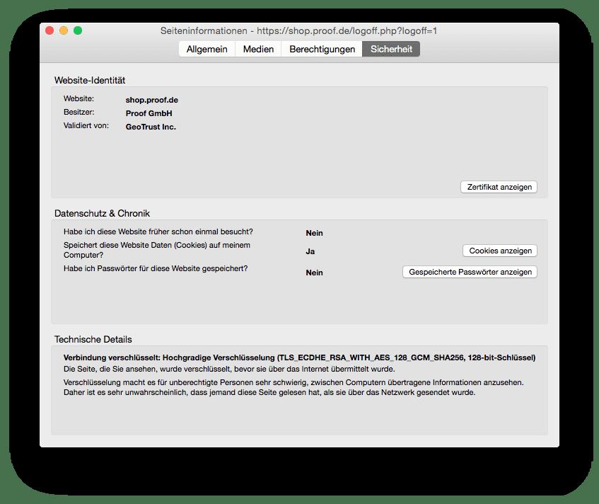 shop.proof.de: Detailansicht des SSL-Zertifikats