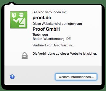 shop.proof.de: schnelle Zertifikats-Übersicht