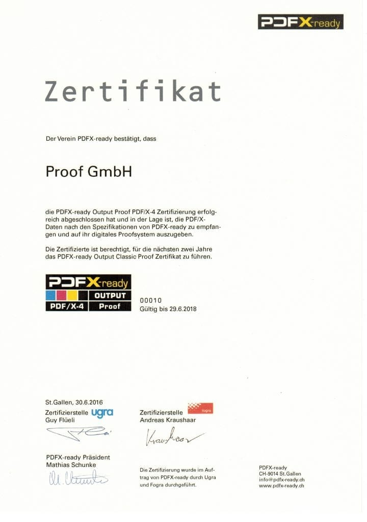 PDFX-ready Zertifikat Proof Output 2016 der Proof GmbH Tübingen