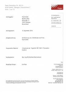 Vollständiger 12-seitiger Fogra Prüfbericht der Proof GmbH Tübingen 2016