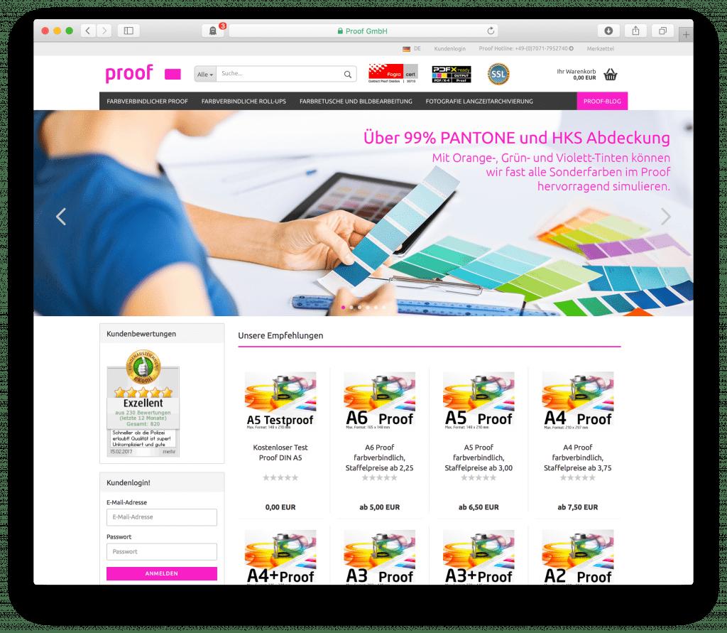 Relaunch Ansicht unseres Proof Shops unter shop.proof.de