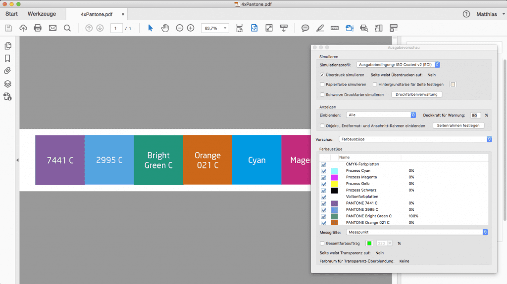 proof.de: PANTONE Sonderfarben-PDF PANTONE Spotcolor-PDF
