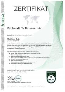 Matthias Betz ist Fachkraft für Datenschutz (DEKRA)