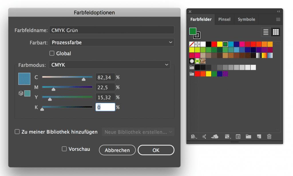 Adobe Illustrator 2019 Farbwähler CMYK Eingabe mit zwei Nachkommastellen