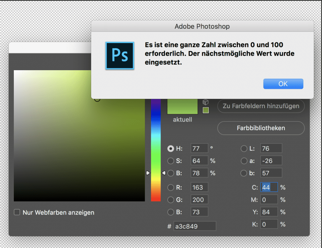 Adobe Photoshop 2019 Farbwähler CMYK LAB Eingabe ohne Nachkommastellen