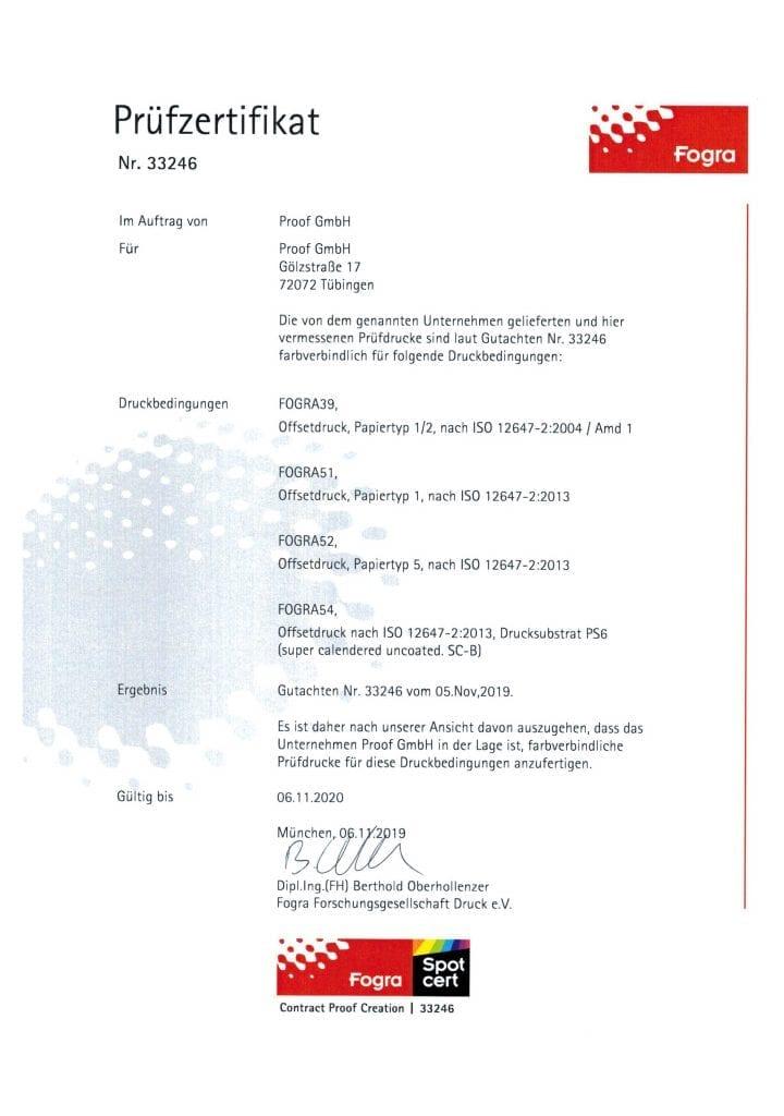 Proof.de Fogra Prüfzertifikat für Fogra Zertifizierung und Spot cert Sonderfarbzertifizierung