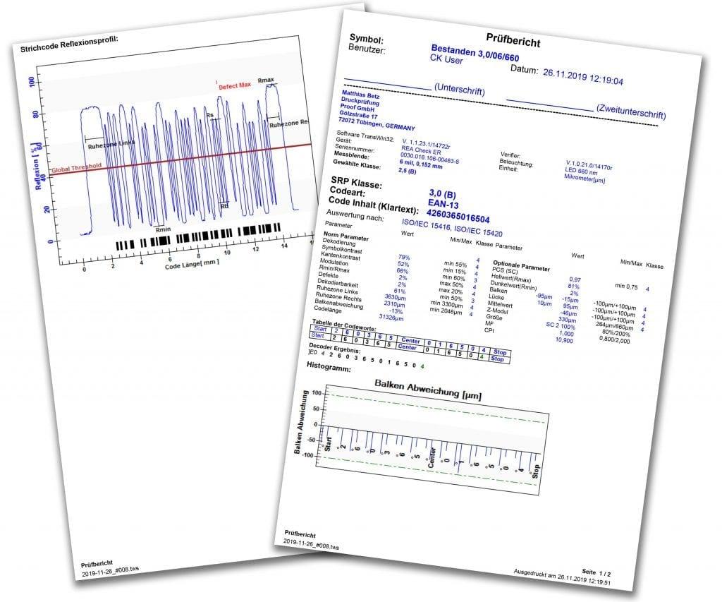 Proof.de Prüfreport nach ISO/IEC 15416 / ISO/IEC 15420 nach 3B Kriterien z.B. für Barcodes für ALDI und Hofer. Der Prüfreport wird tagesgleich erstellt und Ihnen als PDF oder per Post zugesandt.