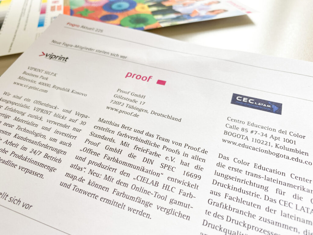 Vorstellung der Proof GmbH in der Fogra Aktuell Nr. 225 vom Mai 2021