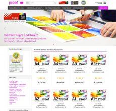 Proof bestellen: Screenshot der Startseite des Proof.de Proof Shops, in dem Sie farbverbindliche Proofs bestellen können